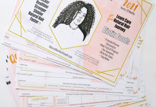 Staple Your 'Natural Hair Hair Growth eGuide Calendar' 2021 into a Calendar with Easy Staple Instructions Included on Pages