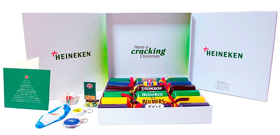 Heineken branded drinks printed on Christmas crackers