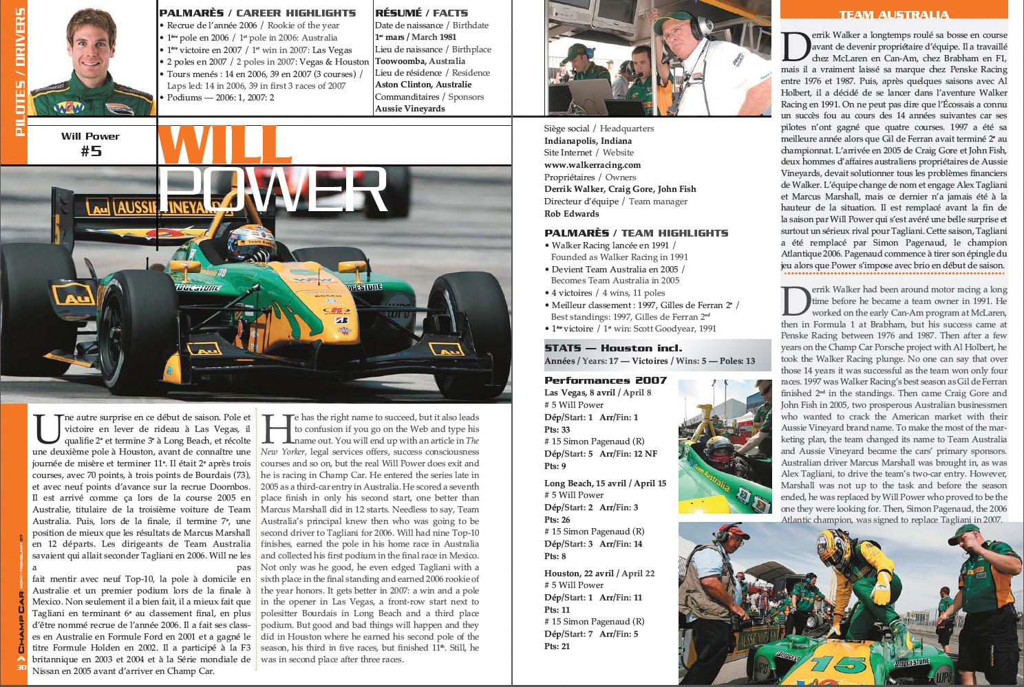 La mise en page intérieur Champ Car 2007