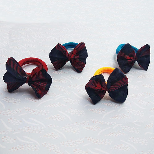 Red and blue checks bow Hair ties