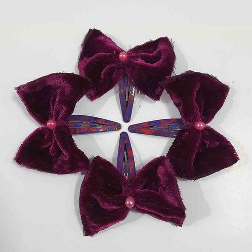 Purple velvet bow hairclip