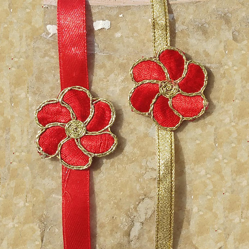 Traditional red rose flower Bhabhi Rakhi
