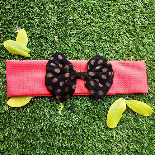Peach stretchable hairband with bow