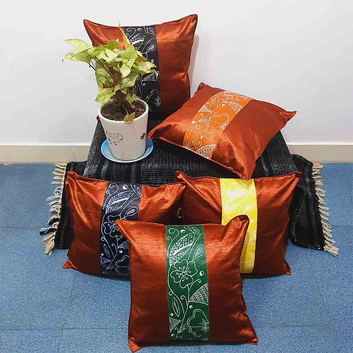 Brown floral cushion cover set