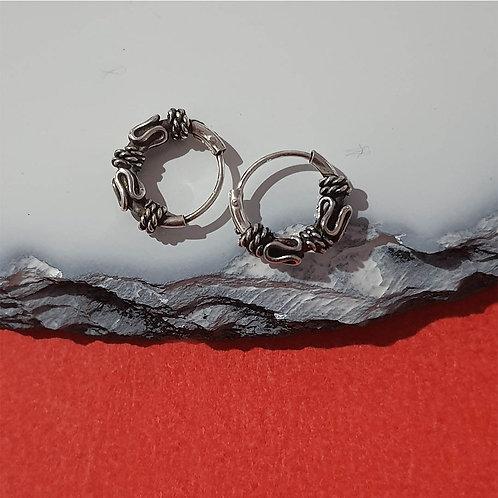 Thai work oxidized earring