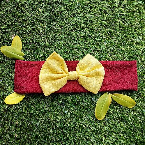 Maroon hairband with yellow chikankari bow
