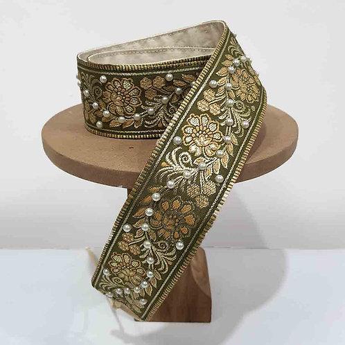 Pearly Green silk belt
