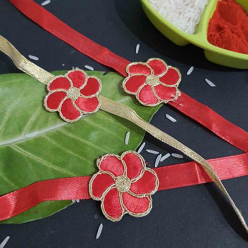 Red flower rakhi set fo 3