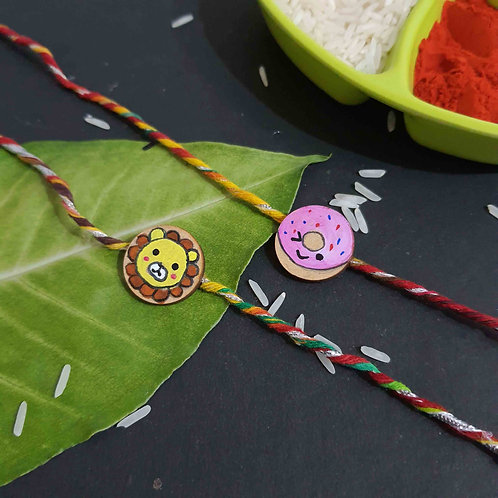 Handpainted wooden cute art rakhi