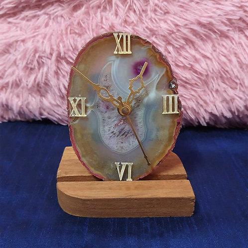 Breccia effect agate stone clock