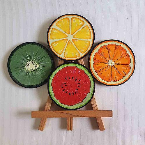 Assorted fruit coaster set