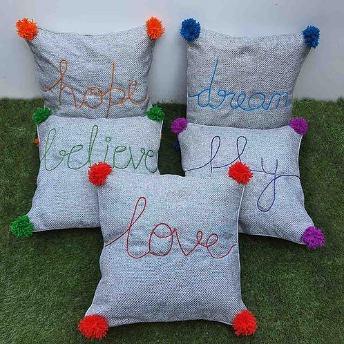 Five Deeds Jute cushion cover set