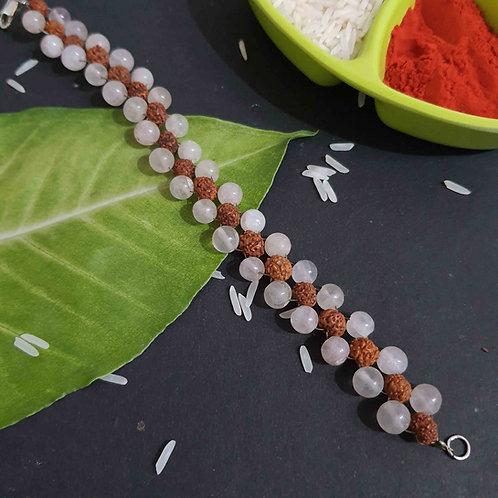 Rudraksha and Rose quartz rakhi