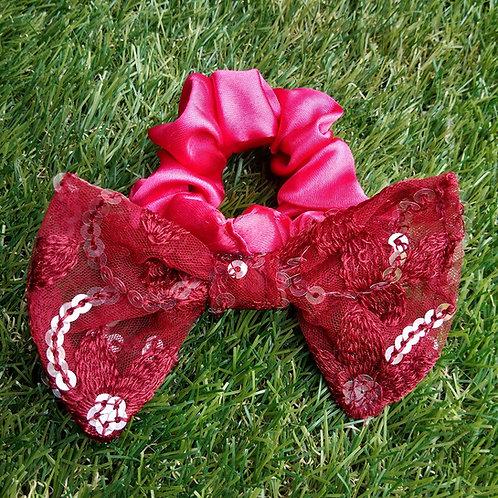 Pink satin hair Scrunchie