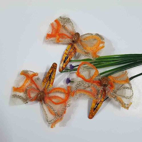 Orange embroidered net hairclip