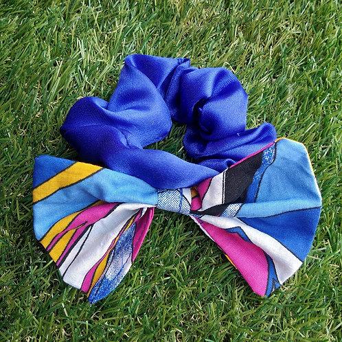 Blue satin hair Scrunchie