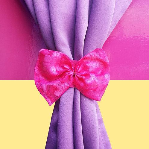 Self weave pink net curtain tieback
