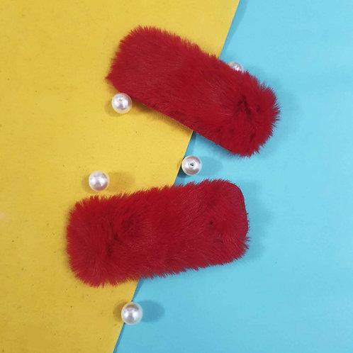 Fur tic-tac hairpins set of 2