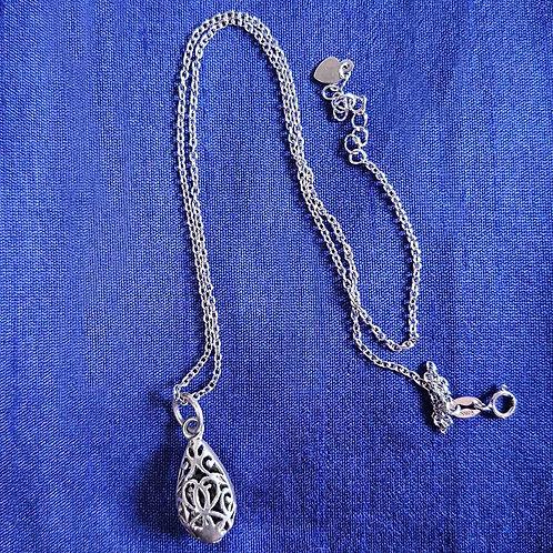 Cutwork designer droplet Silver pendant