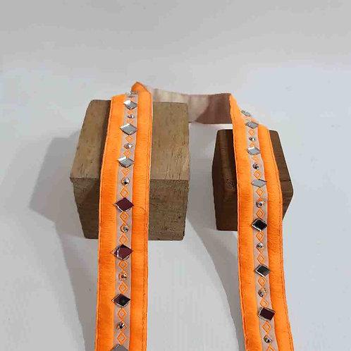 Neon Orange Mirrorwork Belt