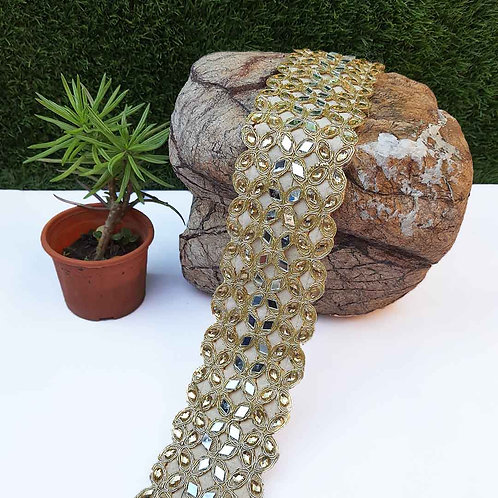 Gold bejeweled broad belt