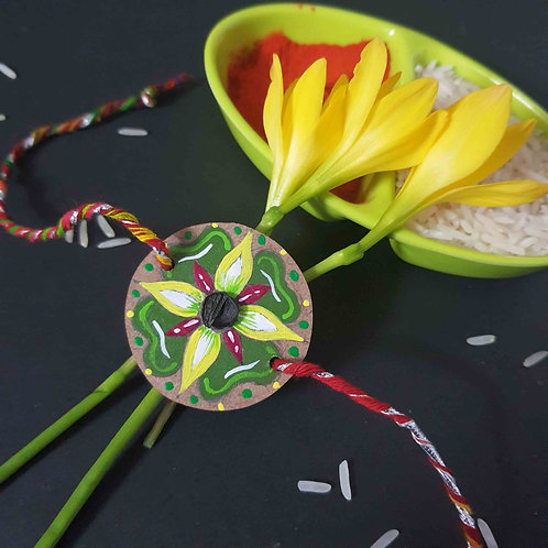 Hand-painted flower Rakhi with Seed (Sap Green)