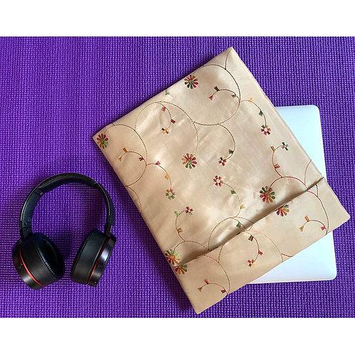 Beige embroidered elegant Laptop Sleeve