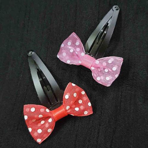 Cute monochrome polka dot bow hairpin