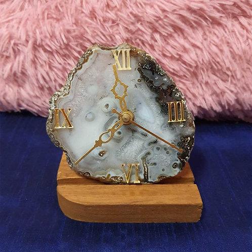 Montana marble effect agate clock