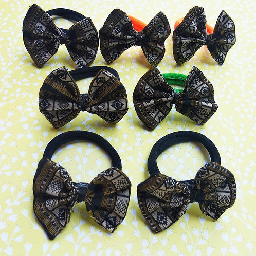 Black and golden Bow Hair tie