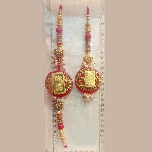 Pure Gold traditional couple rakhi