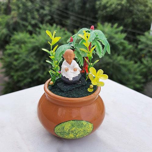 Monk in a pot Miniature Garden