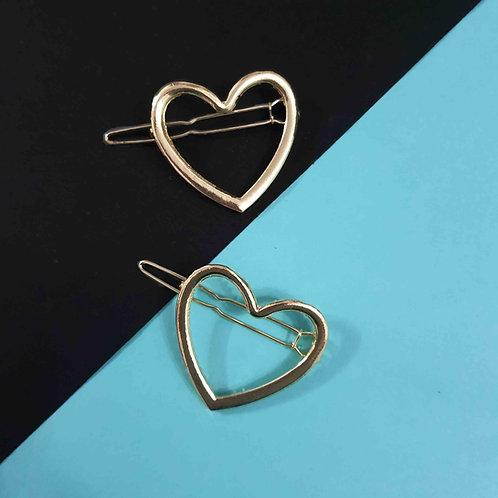 Golden Metal Heart hairclip set of 2