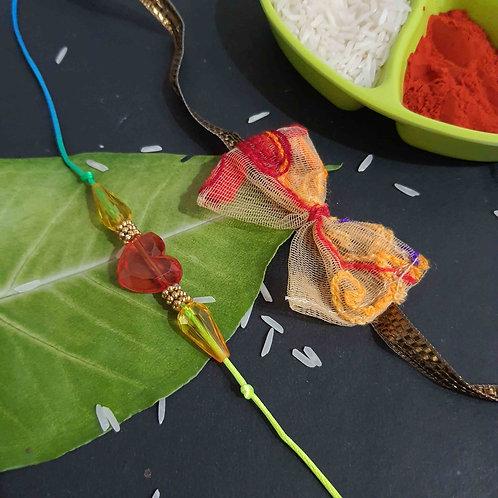 Yellow bead rakhi set of 2