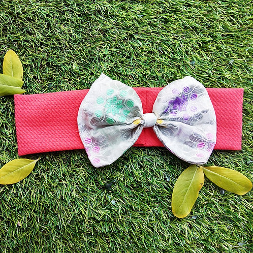Stretchable Hairband with white brocade bow