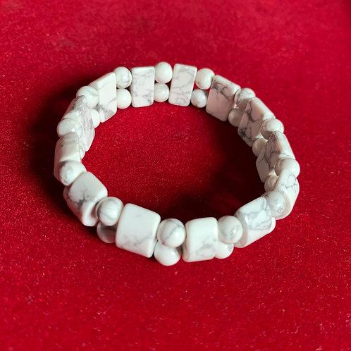 Marble white semi precious gemstone Bracelet