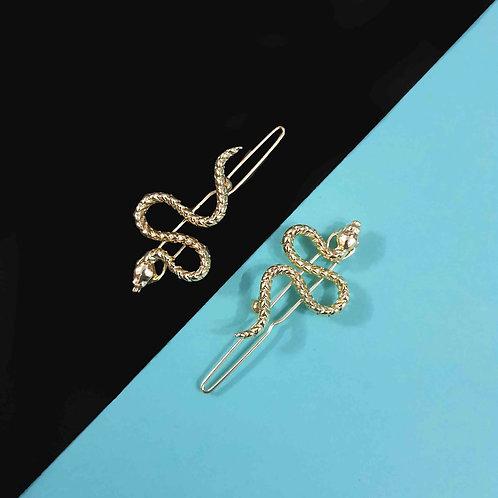 Golden Metal Snake hairclip set of 2