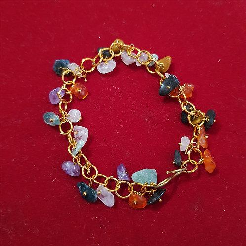 Multicolor agate chip chain Wristband