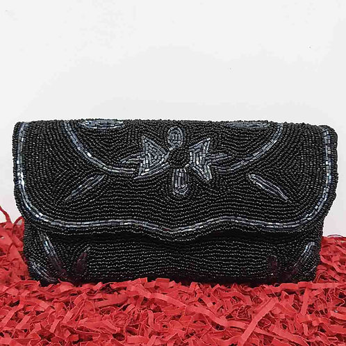 Bhopali work black clutch