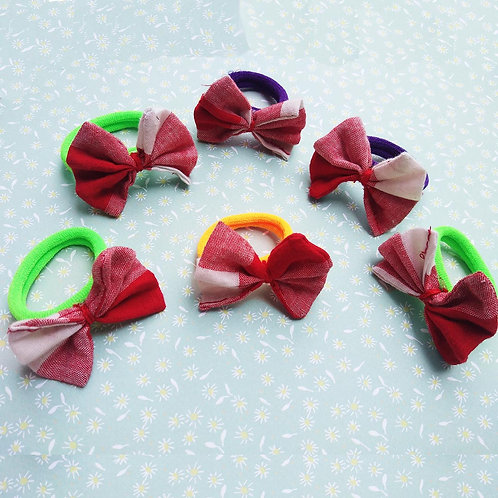 Red and white checks Bow Hair bobble