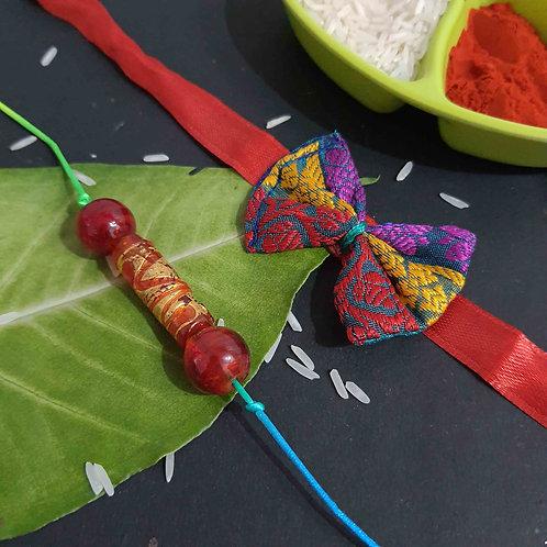 Red bead couple rakhi