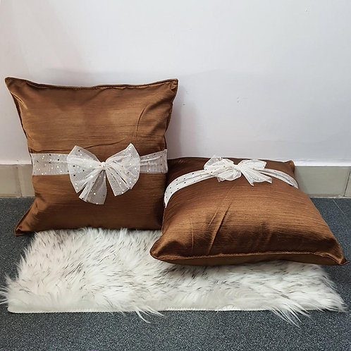 Metallic Copper cushion cover with glitter net