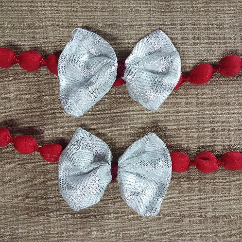 Silver brocade Bow Rakhi for Bhabhi