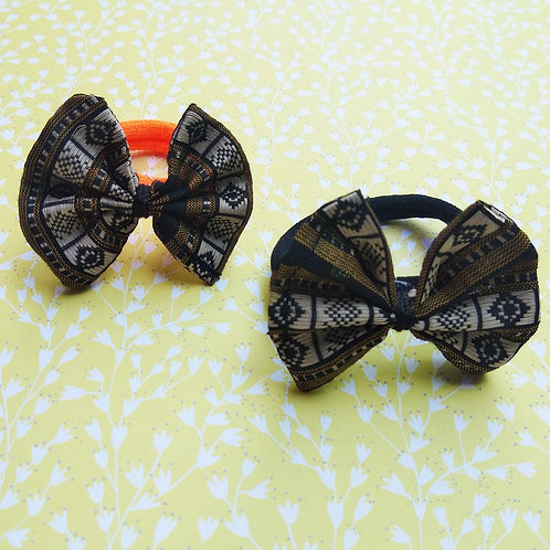 Black and golden Bow Hair ties