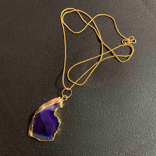 Highland heather Agate stone chain pendant