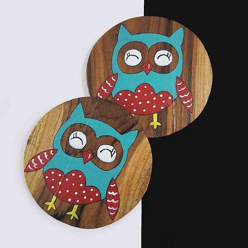 Crazy Owl coaster set of 2