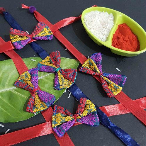 Multicolor bow rakhi set of 5