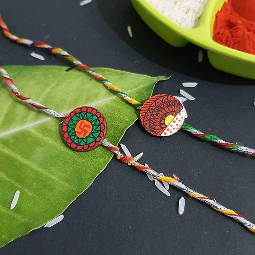 Handpainted wooden mandala art rakhi