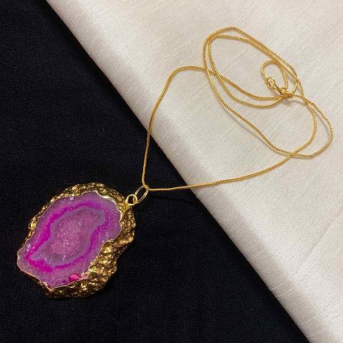 Taffy pink Agate stone chain pendant
