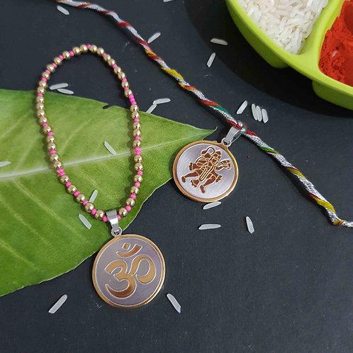 Hanuman Om 2 in 1 rakhi set